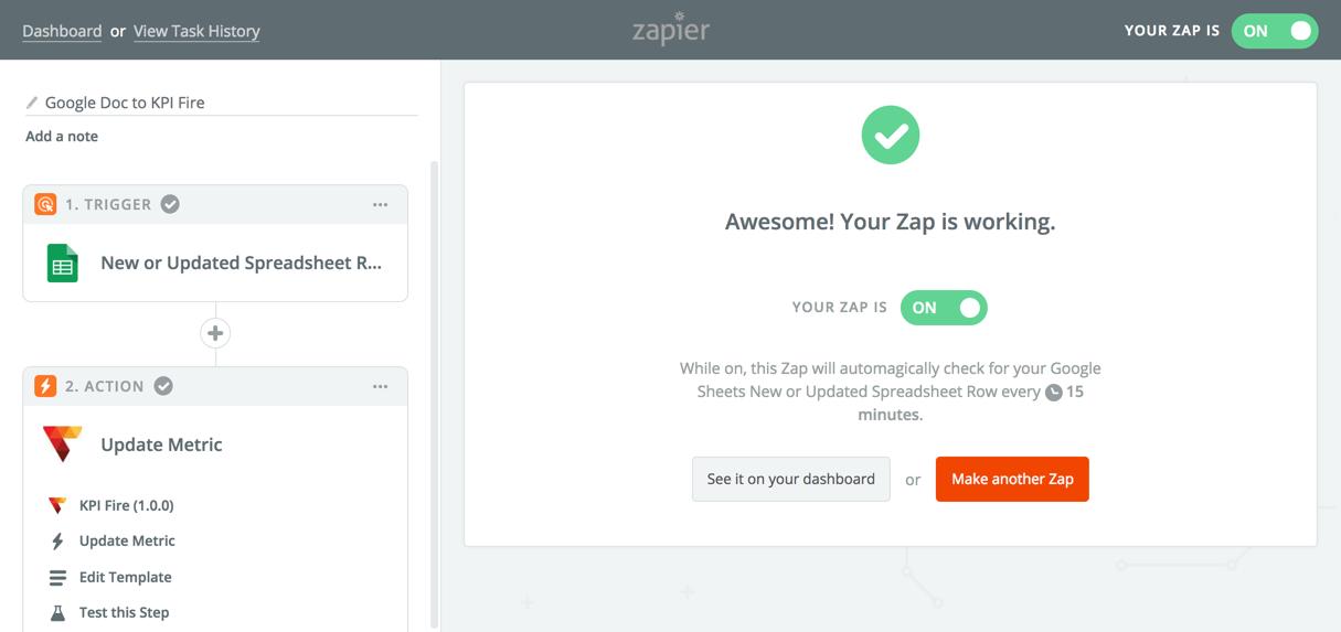 Turn your Zapier app on - KPI Fire